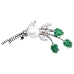 Vintage Pearl Floral Pin Brooch with Clear and Green Crystals