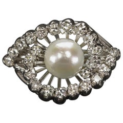 Vintage Pearl on Diamond Halo Cocktail Ring Platinum Setting