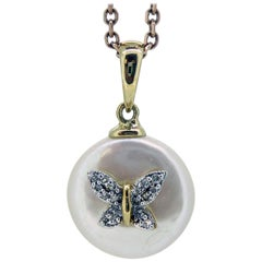 Vintage Pearl Pendant, Diamond Butterfly, Rose Gold Chain