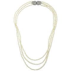 Vintage Pearl & Rhinestone Triple Rope Necklace 1980s