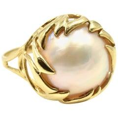 Vintage Pearl Ring 14 Karat Yellow Gold