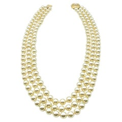 Vintage Pearl Triple Row Necklace with Feature Clasp 1970s
