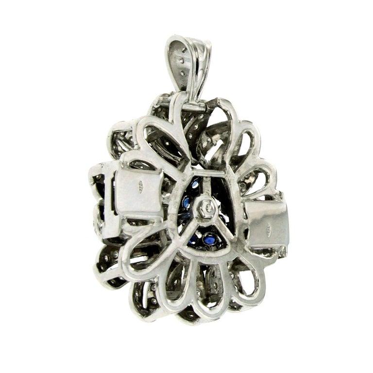 Women's Vintage Pearl Two Strand Necklace Diamond Sapphire Detachable Clasp-Pendant For Sale
