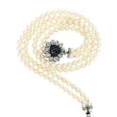 Vintage Pearl Two Strand Necklace Diamond Sapphire Detachable Clasp-Pendant