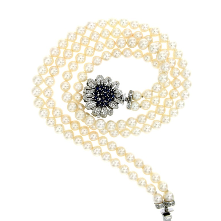Vintage pearl two strand necklace diamond sapphire detachable clasp vintage pearl two strand necklace diamond sapphire detachable clasp pendant for sale aloadofball Images