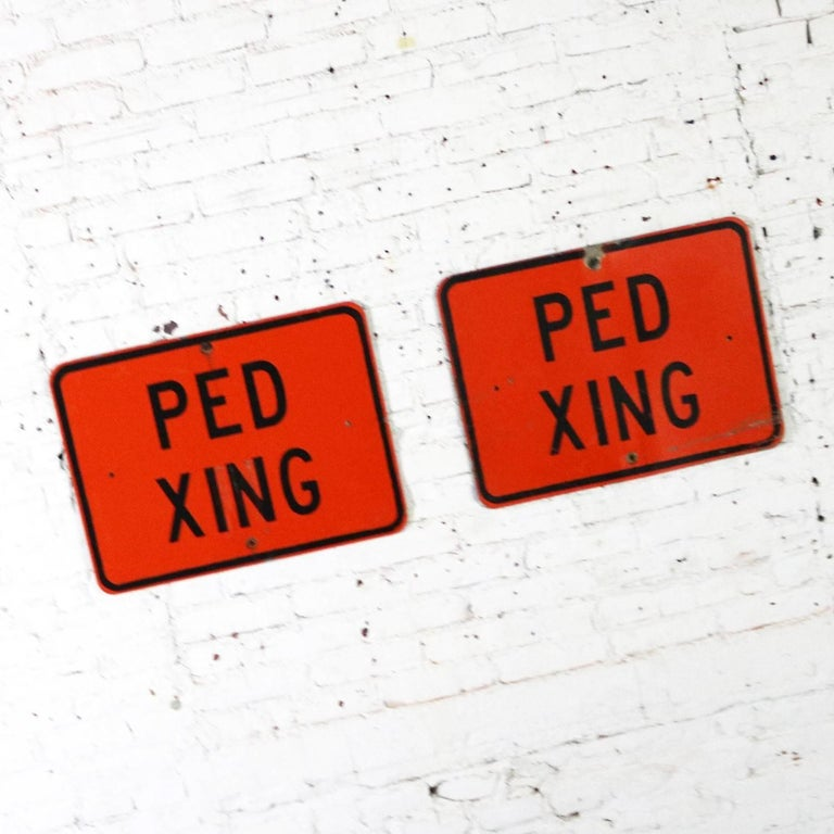 Industrial Vintage Ped Xing Florescent Orange Metal Traffic Signs For Sale