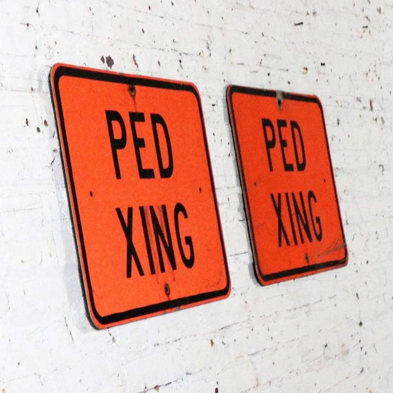 Aluminum Vintage Ped Xing Florescent Orange Metal Traffic Signs For Sale