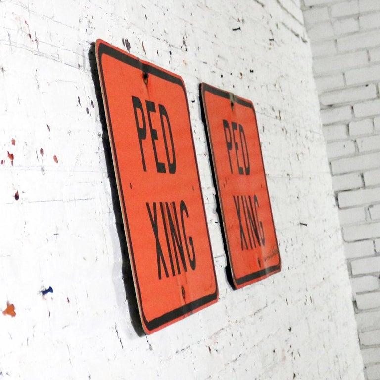Vintage Ped Xing Florescent Orange Metal Traffic Signs For Sale 1