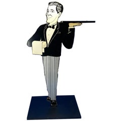 Vintage Pedestal Dumbwaiter Or Key Stand In The Shape Of A Butler, Italy 1960s