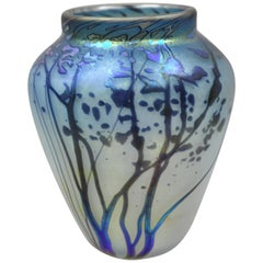 Vintage Peet Robison Blue Sunrise Trees Art Glass Iridescent Vase