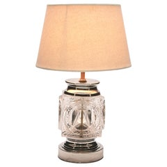Vintage Peill & Putzler Ice Cube Table Lamp in Chrome and Crystal Glass