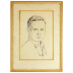 Vintage Pencil Drawing of Boy Portrait