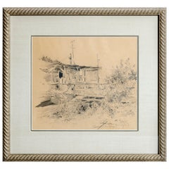 Vintage Pencil Drawing on Paper, Landscape with Structure, Artist Signed, 1934