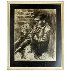 """Vintage Pencil Drawing """"Senior with a Bunch of Flowers"""", Signed"""