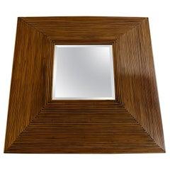 Vintage Pencil-Reed Bamboo Pyramid Mirror
