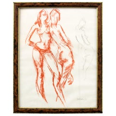Vintage Pencil Sketching of Young Nude Girl's, England 1968