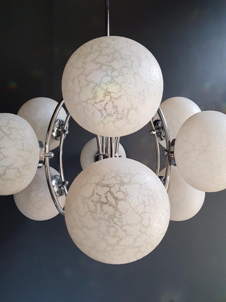 Glass Vintage Pendant Chandelier 1970s Space Age Ufo Atom Lamp White Chrome For Sale