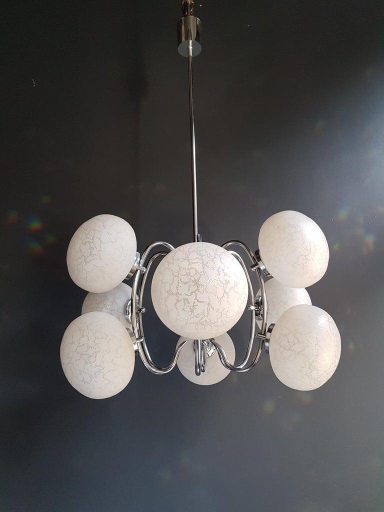 Vintage Pendant Chandelier 1970s Space Age Ufo Atom Lamp White Chrome For Sale 1