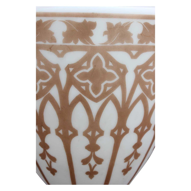 Vintage Pendant Chandelier Light with Gold Leaf Base and Architectural Stencil In Good Condition For Sale In Houston, TX