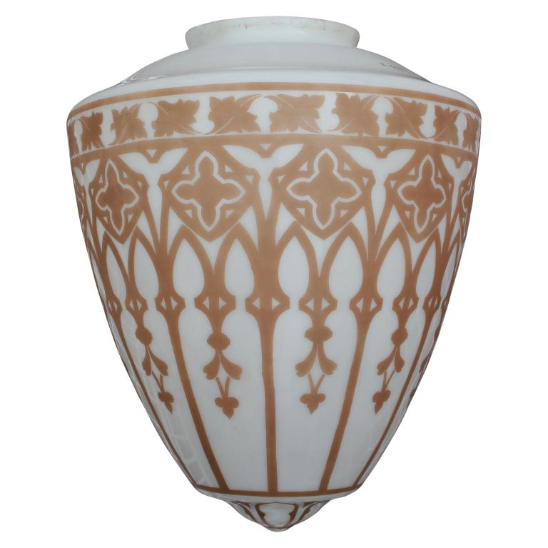 Vintage Pendant Chandelier Light with Gold Leaf Base and Architectural Stencil For Sale 1