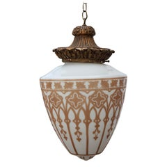 Vintage Pendant Chandelier Light with Gold Leaf Base and Architectural Stencil