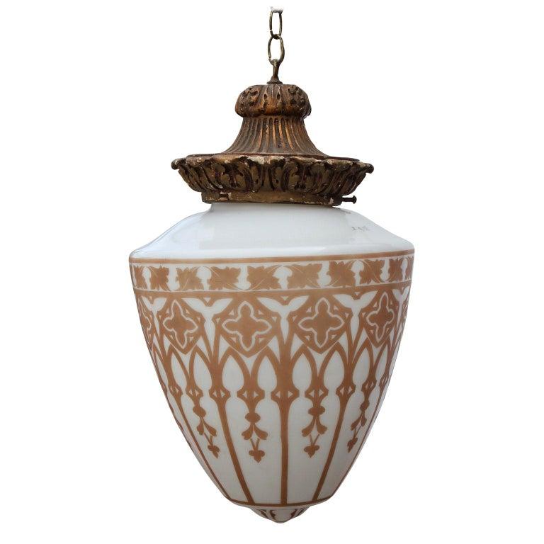 Vintage Pendant Chandelier Light with Gold Leaf Base and Architectural Stencil For Sale