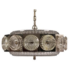 Vintage Pendant Lamp in Carl Fagerlund Style made of Silver and Glass, 1960s