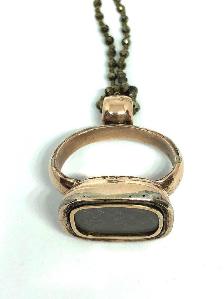 Edwardian Vintage Pendant, Pyrite 10K Gold Long Necklace For Sale