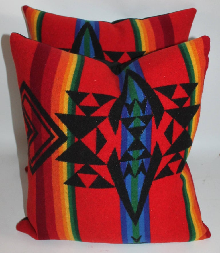 Newly made pillows from vintage Pendleton Indian design camp blanket. Black linen backing.