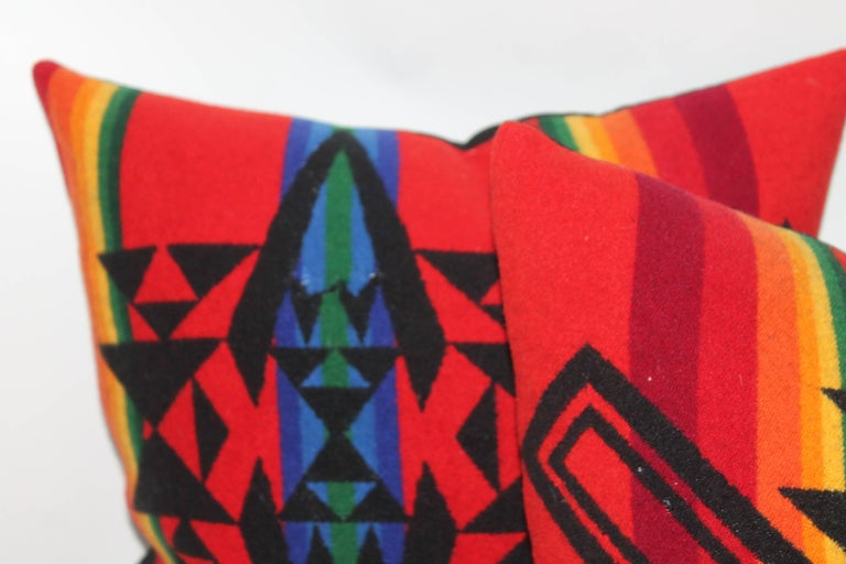 Adirondack Vintage Pendleton Indian Design Camp Blanket Pillows, Pair For Sale