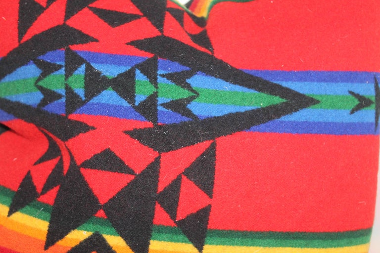 American Vintage Pendleton Indian Design Camp Blanket Pillows, Pair For Sale