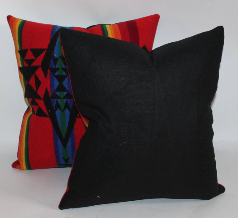 Vintage Pendleton Indian Design Camp Blanket Pillows, Pair In Excellent Condition For Sale In Los Angeles, CA