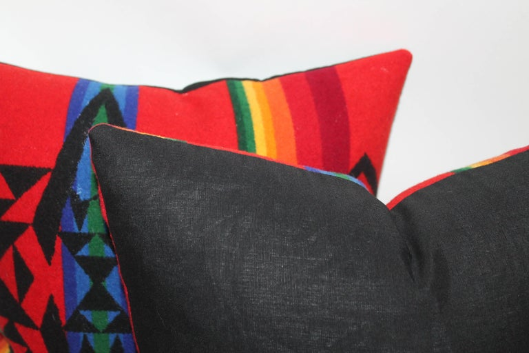 20th Century Vintage Pendleton Indian Design Camp Blanket Pillows, Pair For Sale