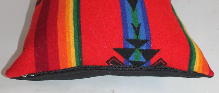Wool Vintage Pendleton Indian Design Camp Blanket Pillows, Pair For Sale