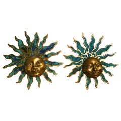 Vintage Pepe Mendoza Brass/Turquoise Resin Sun Wall Sculptures, Mexico, 1960s