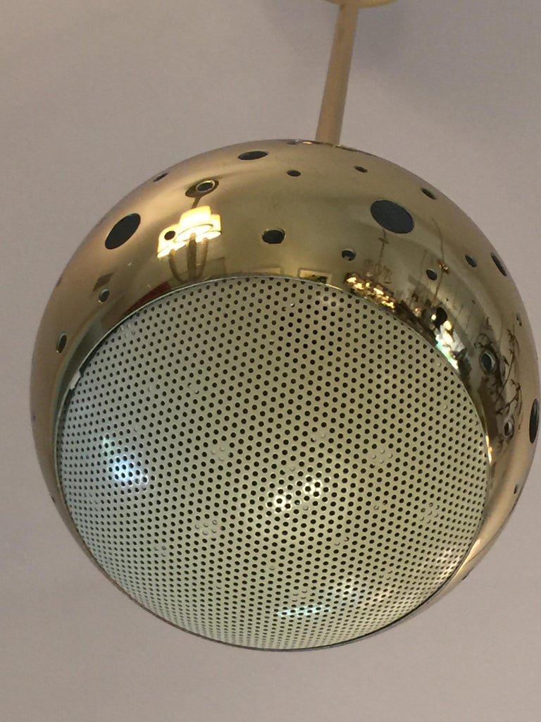Vintage Perforated Brass Globe Pendant In Good Condition For Sale In East Hampton, NY