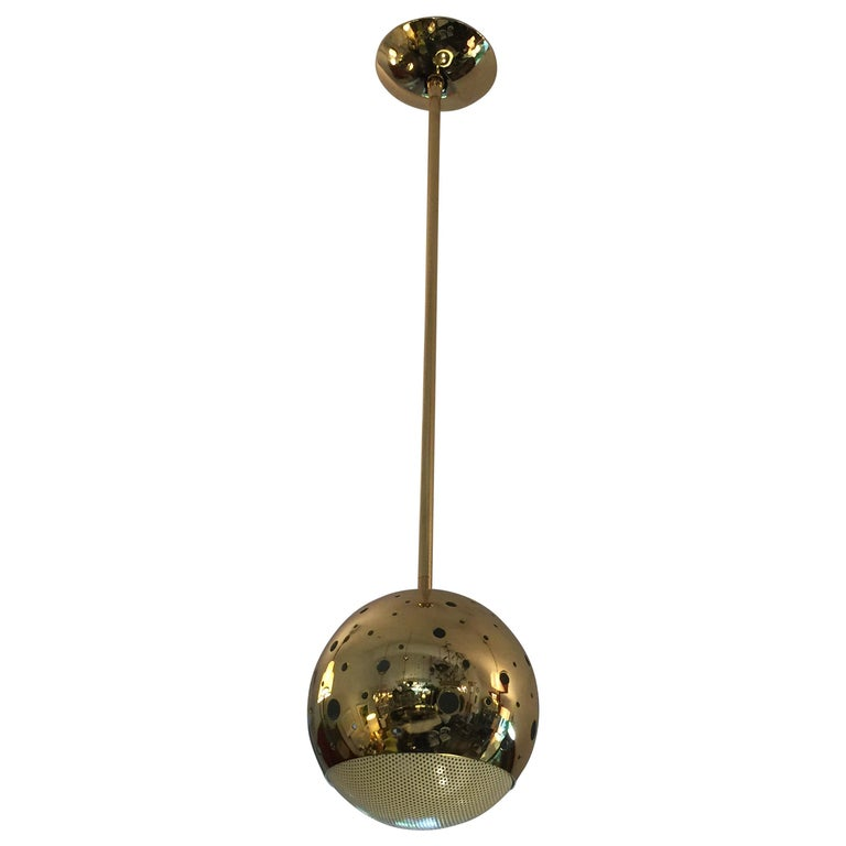 Vintage Perforated Brass Globe Pendant For Sale