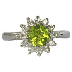 Vintage Peridot and Diamond 18 Carat White Gold Cluster Ring