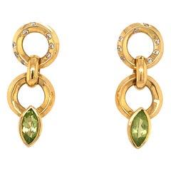 Vintage Peridot Diamonds Loop Design 18K Gold Dangle Earrings