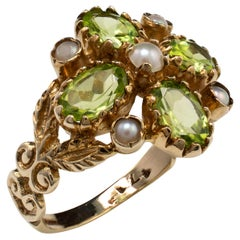 Vintage Peridot and Pearl Flower Cocktail Ring, Fancy Floral Split Shoulders