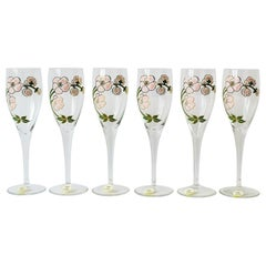 Vintage Perrier-Jouet French Champagne Flute Glasses Art Nouveau, Set of 6