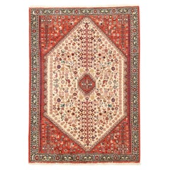 Vintage Persian Abadeh Rug with Ivory Diamond Medallion on Red Center Field