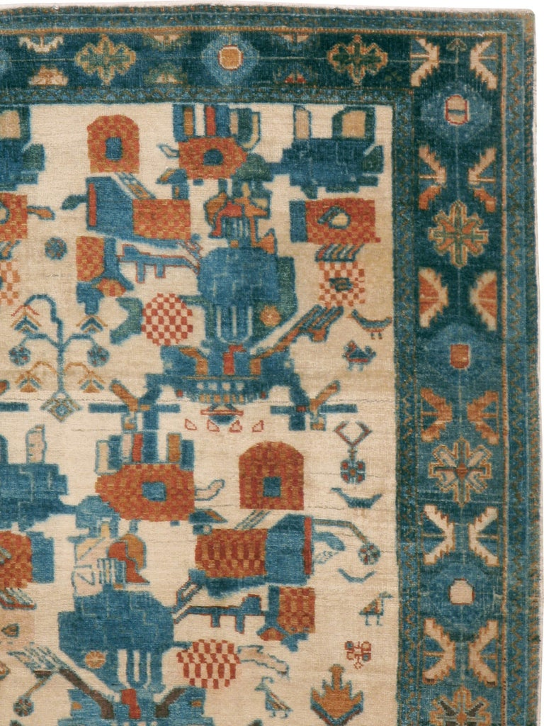 A vintage Persian Afshar rug from the mid-20th century.  Measures: 5' 2