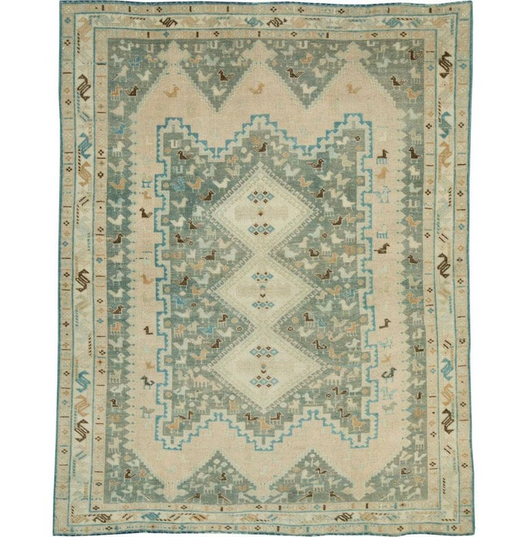 A vintage Persian tribal accent rug handmade by the nomadic Afshar tribes during the mid-20th century.  Measures: 4' 7