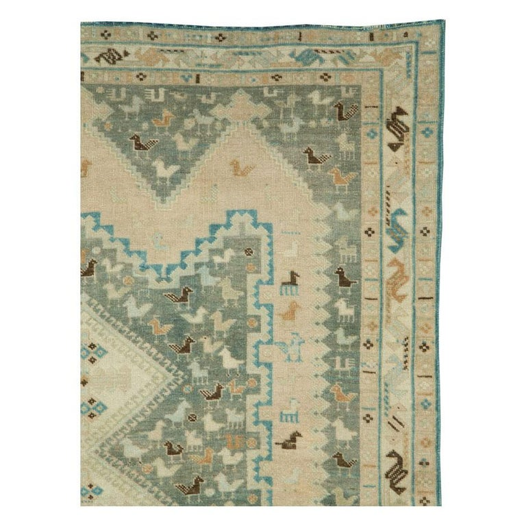 Hand-Knotted Midcentury Handmade Persian Tribal Accent Rug For Sale