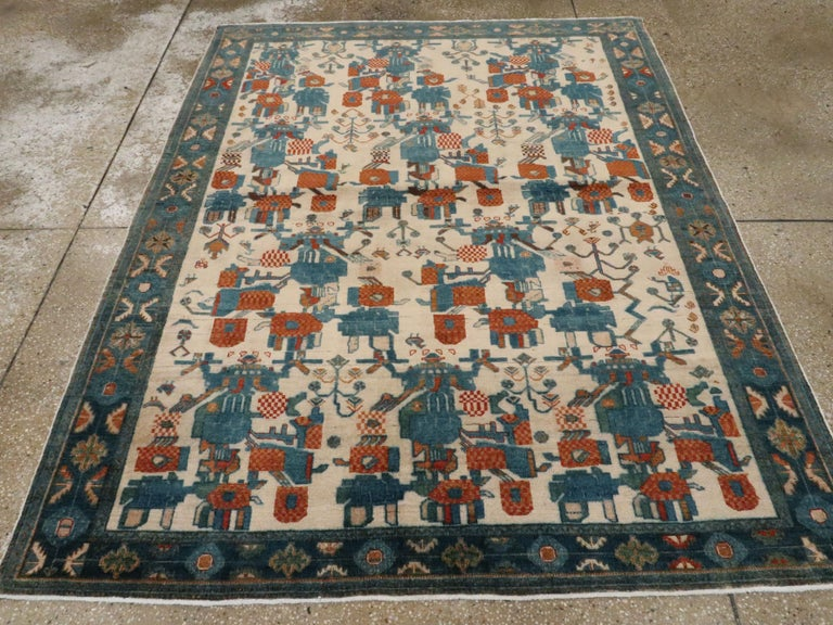 Hand-Knotted Vintage Persian Afshar Rug For Sale