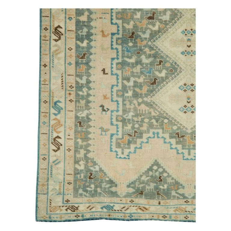 Midcentury Handmade Persian Tribal Accent Rug In Excellent Condition For Sale In New York, NY