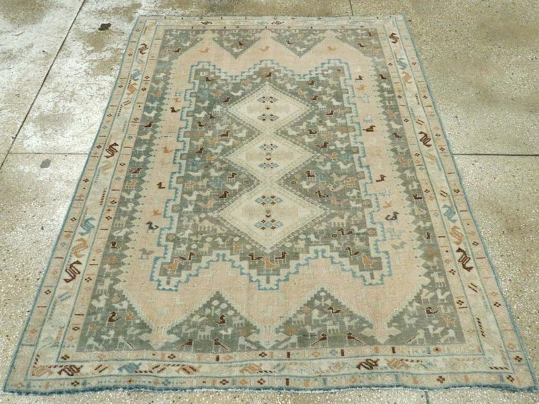 20th Century Midcentury Handmade Persian Tribal Accent Rug For Sale