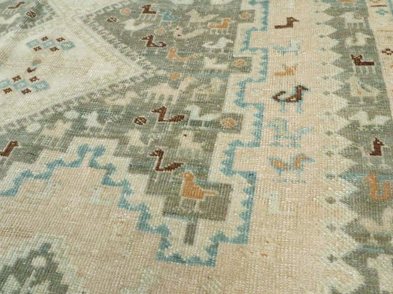 Wool Midcentury Handmade Persian Tribal Accent Rug For Sale