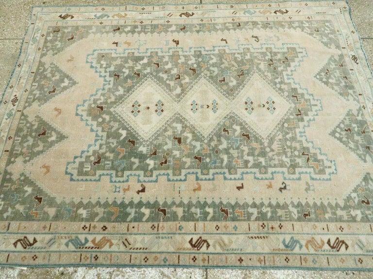 Midcentury Handmade Persian Tribal Accent Rug For Sale 2